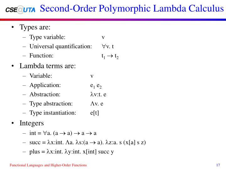 Second-Order Polymorphic Lambda Calculus
