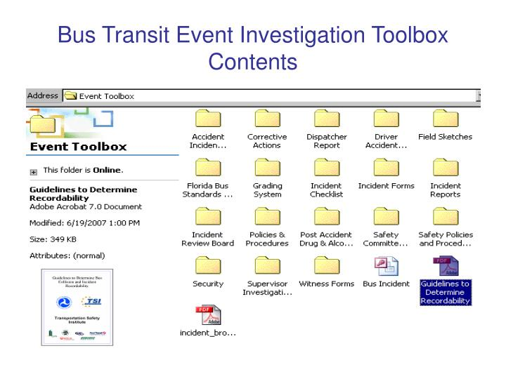 Bus Transit Event Investigation Toolbox Contents