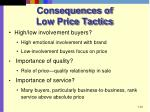 consequences of low price tactics