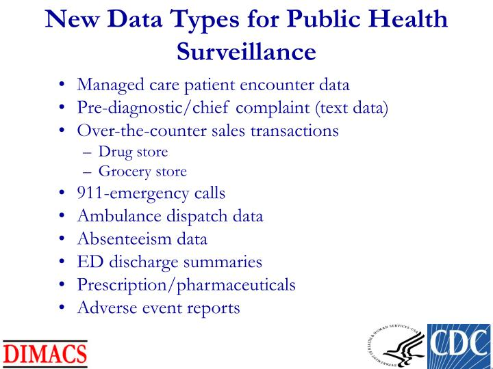 New Data Types for Public Health Surveillance