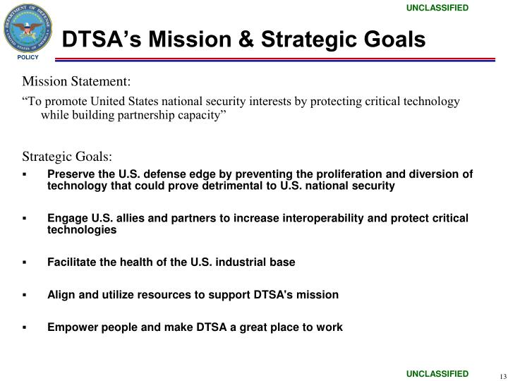 DTSA's Mission & Strategic Goals
