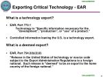 exporting critical technology ear