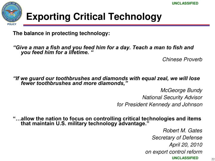 Exporting Critical Technology
