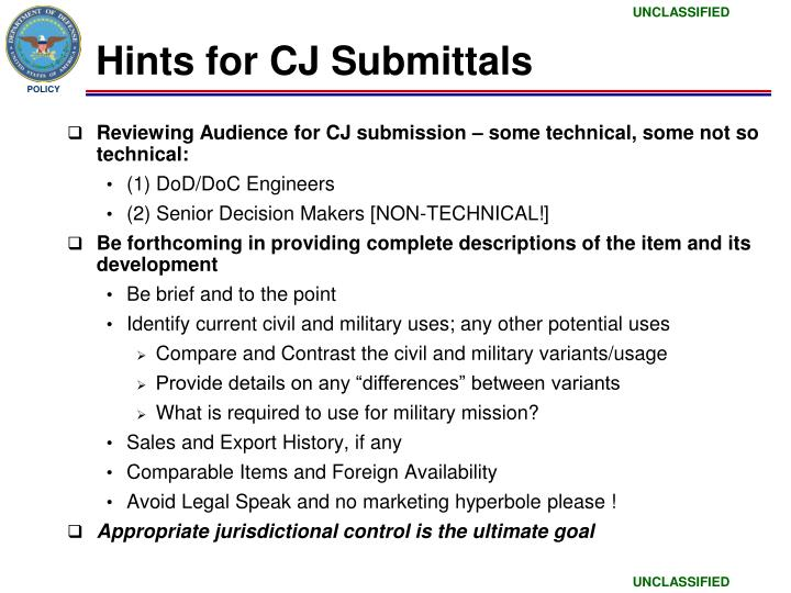 Hints for CJ Submittals