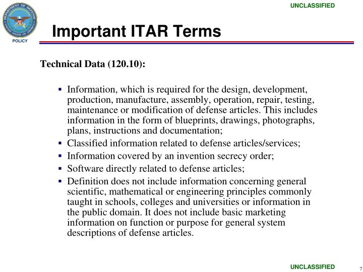 Important ITAR Terms