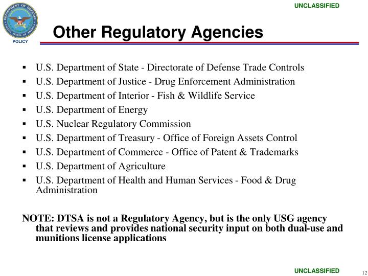Other Regulatory Agencies
