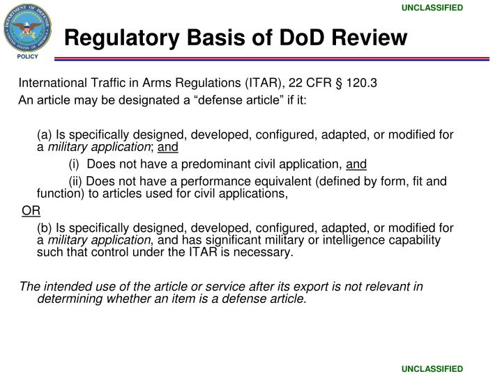 Regulatory Basis of DoD Review