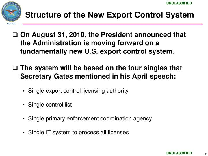 Structure of the New Export Control System