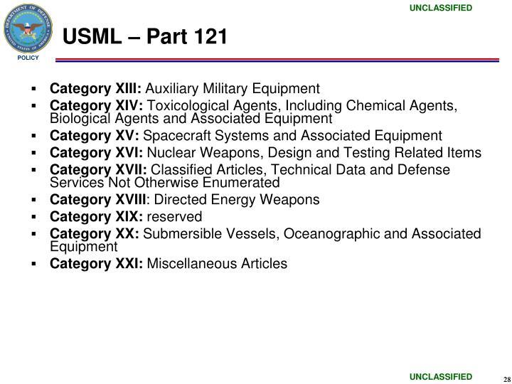 USML – Part 121