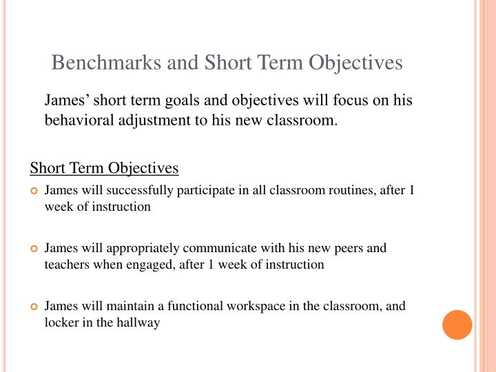 Short Term Objectives : Ppt creating iep goals and objectives an in service