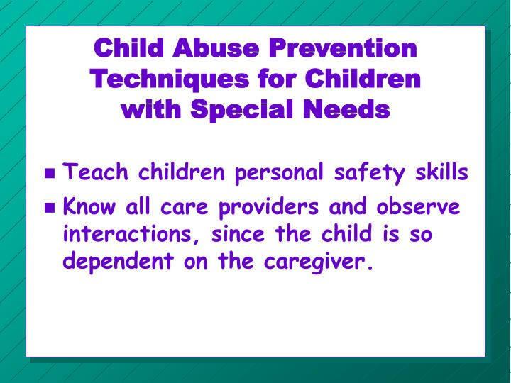 Child Abuse Prevention Techniques for Children