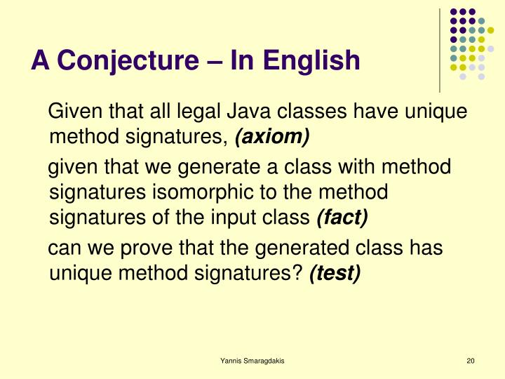 A Conjecture – In English