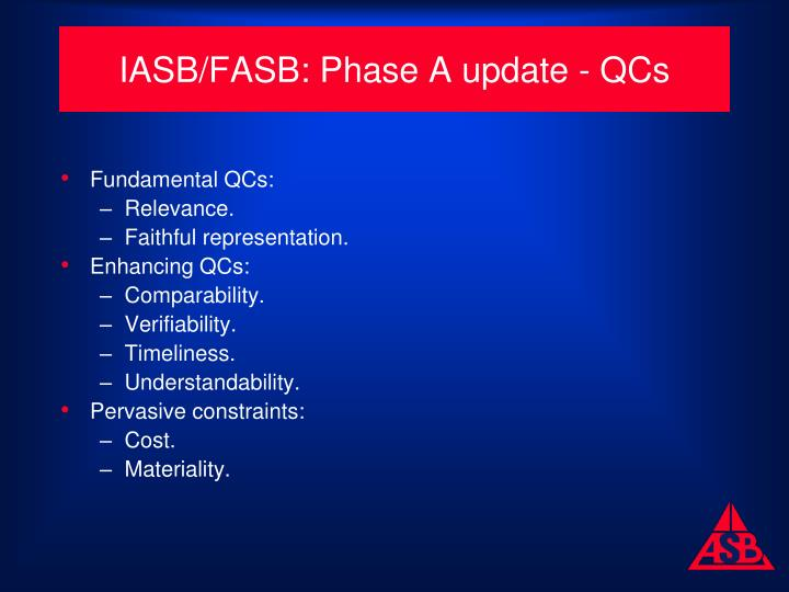 IASB/FASB: Phase A update - QCs