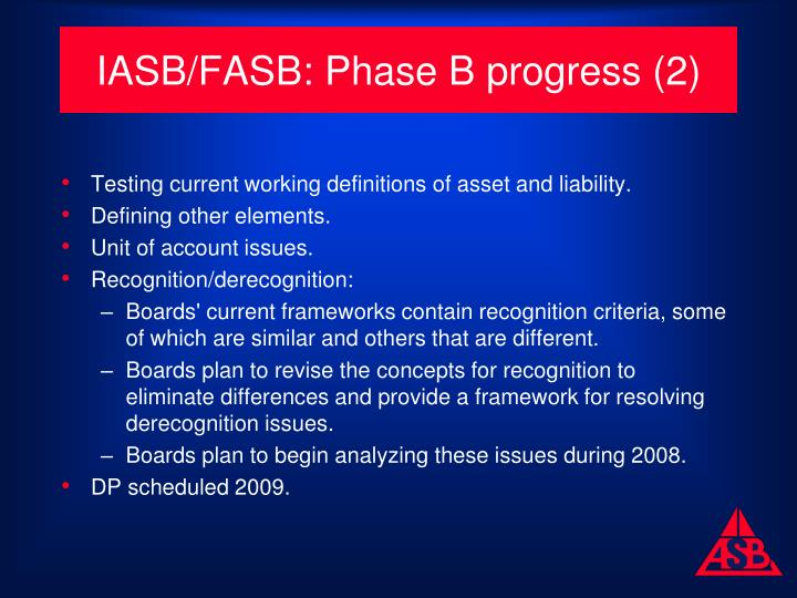 IASB/FASB: Phase B progress (2)