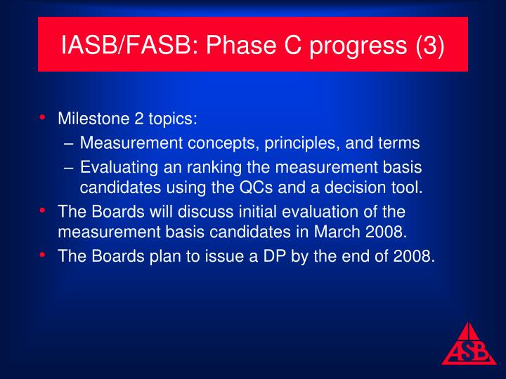 IASB/FASB: Phase C progress (3)