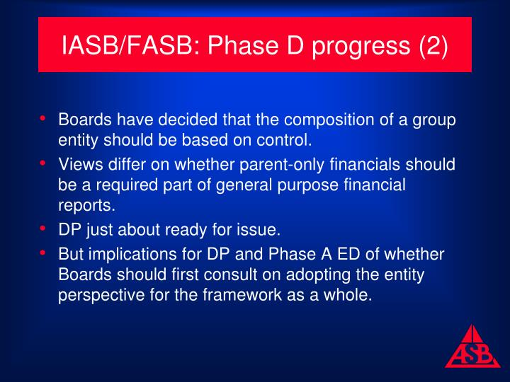 IASB/FASB: Phase D progress (2)