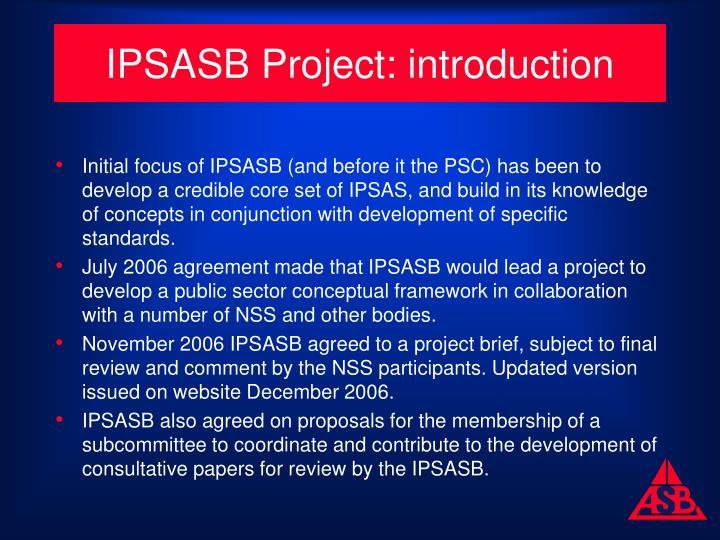 IPSASB Project: introduction