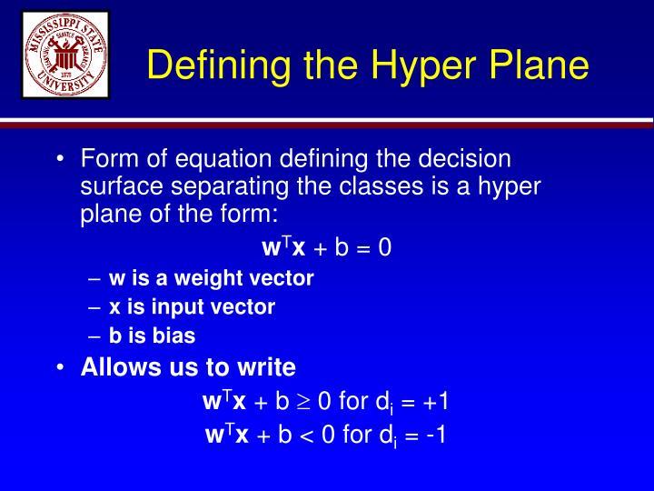 Defining the Hyper Plane