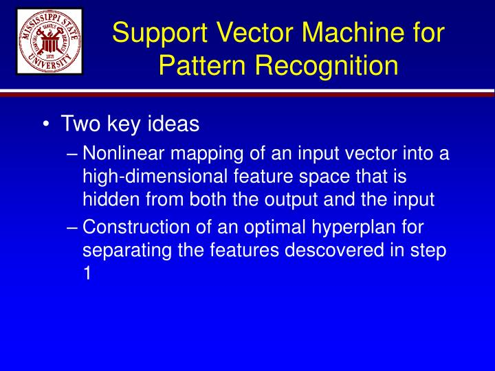 Support Vector Machine for Pattern Recognition