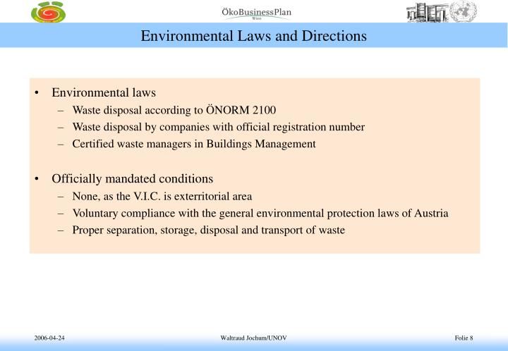 Environmental Laws and Directions