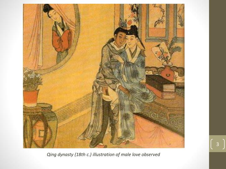 Qing dynasty (18th c.) illustration of male love observed