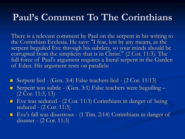 Paul's Comment To The Corinthians