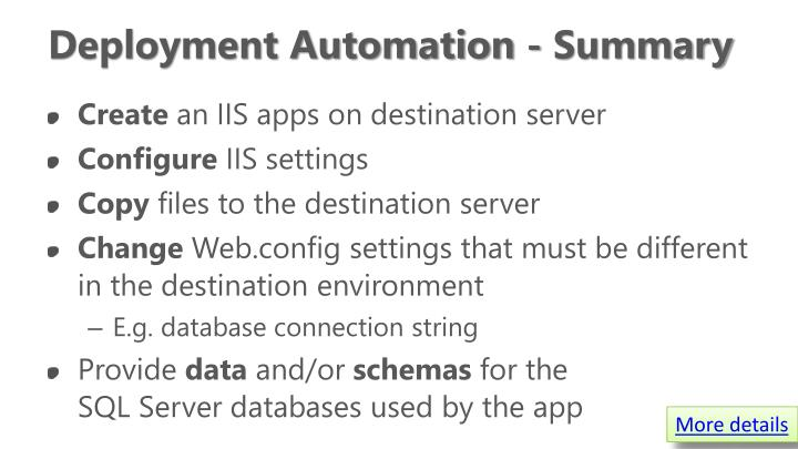 Deployment Automation - Summary