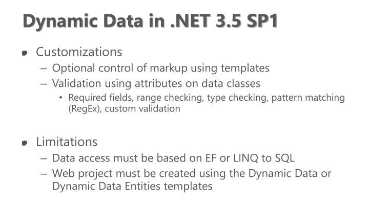 Dynamic Data in .NET 3.5 SP1