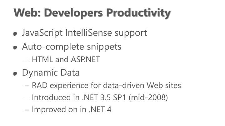Web: Developers Productivity