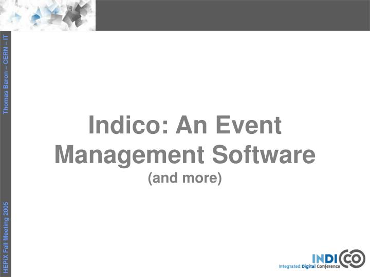 Indico an event management software and more
