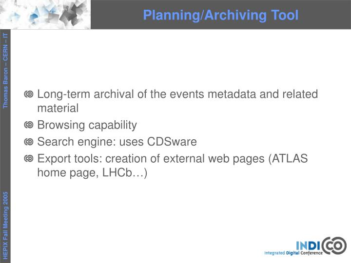 Planning/Archiving Tool