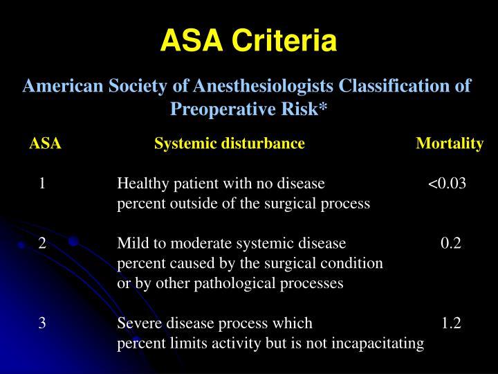 ASA Criteria