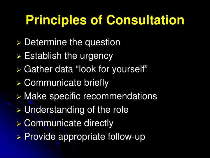 Principles of Consultation