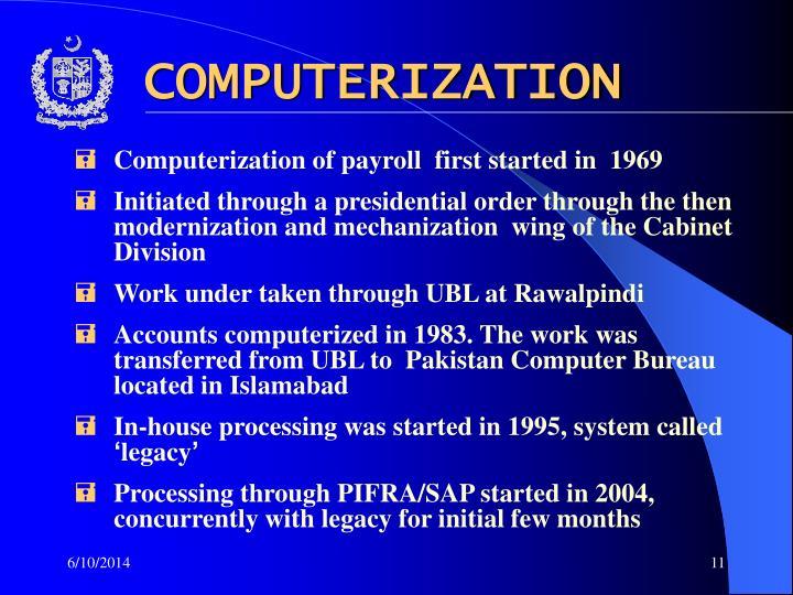 COMPUTERIZATION