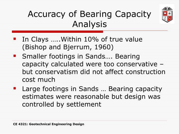 Accuracy of Bearing Capacity Analysis