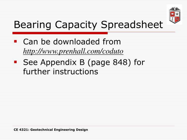 Bearing Capacity Spreadsheet