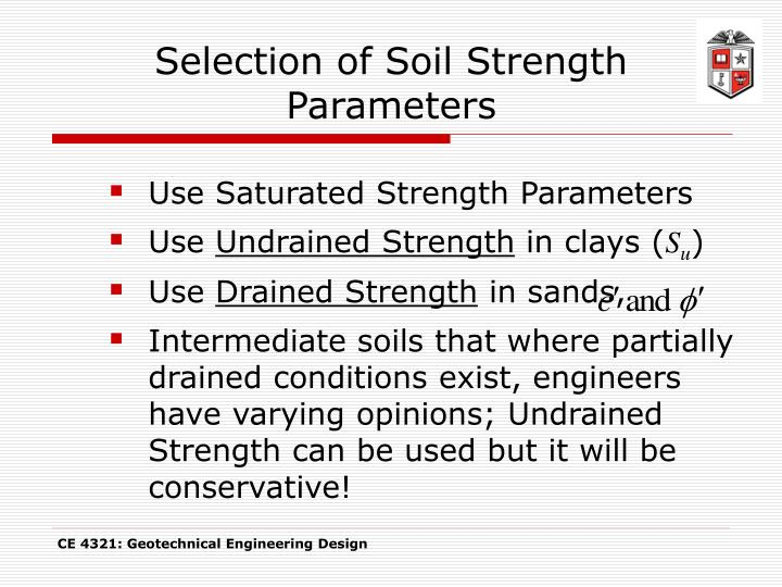 Selection of Soil Strength Parameters