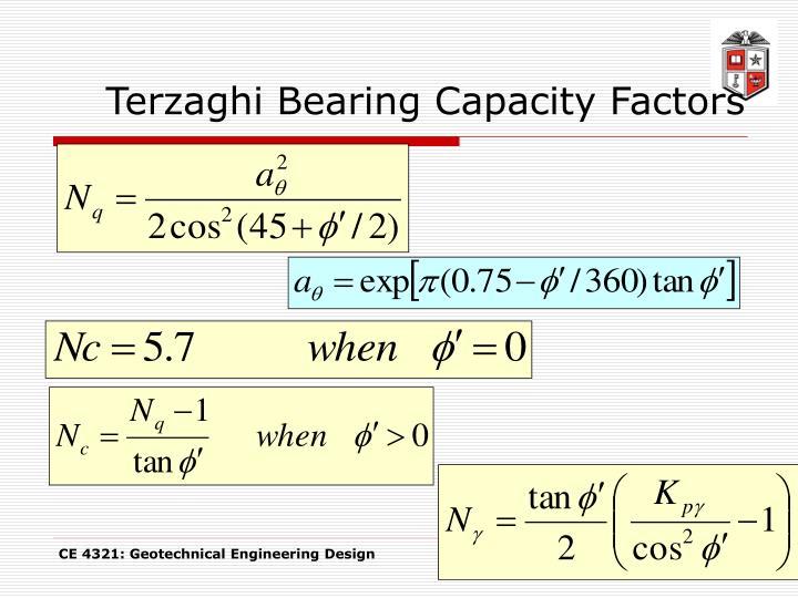 Terzaghi Bearing Capacity Factors