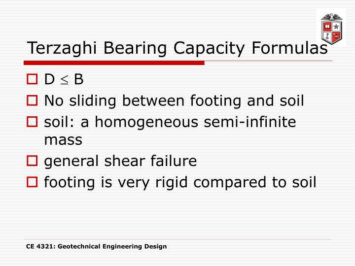 Terzaghi Bearing Capacity Formulas