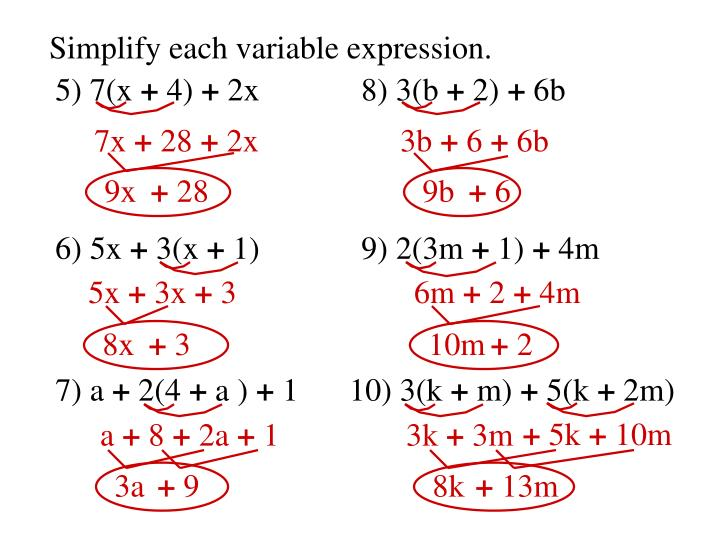 Simplify each variable expression.
