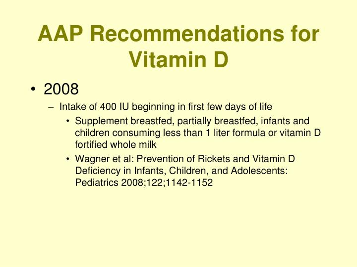 AAP Recommendations for Vitamin D