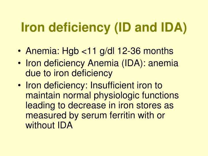 Iron deficiency (ID and IDA)
