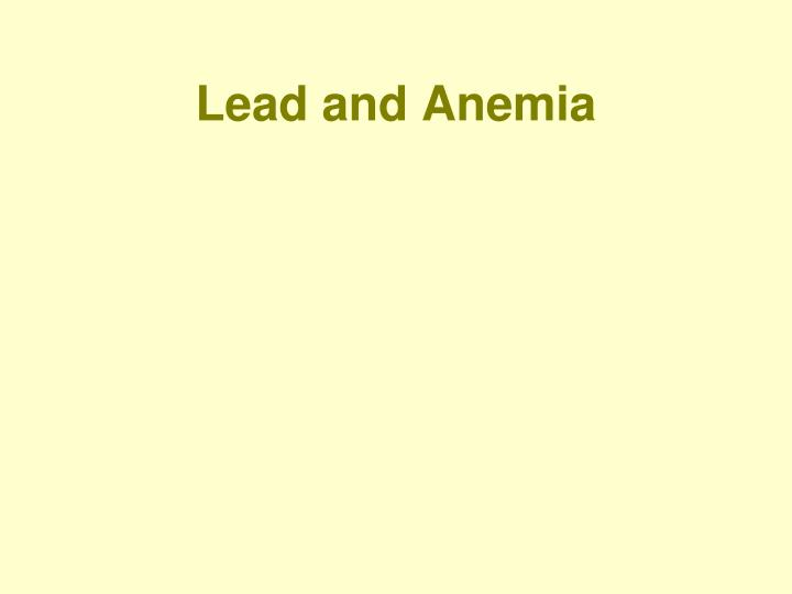 Lead and Anemia