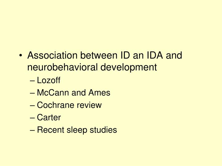 Association between ID an IDA and neurobehavioral development