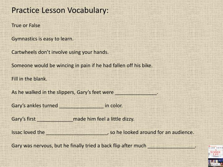 Practice Lesson Vocabulary: