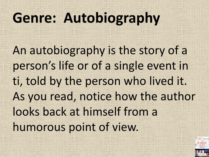 Genre:  Autobiography
