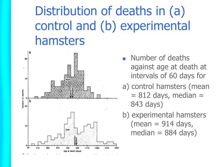 Distribution of deaths in (a) control and (b) experimental hamsters