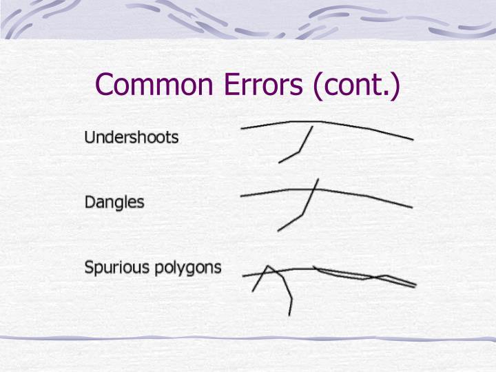 Common Errors (cont.)