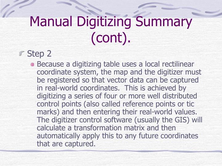Manual Digitizing Summary (cont).