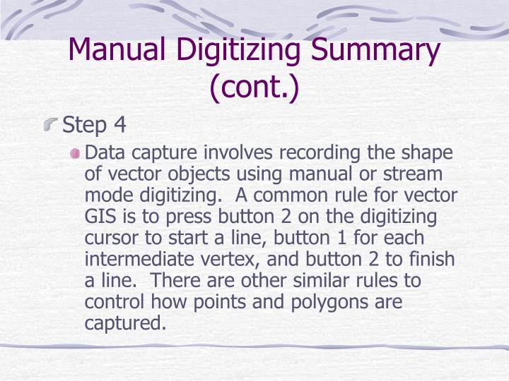 Manual Digitizing Summary (cont.)